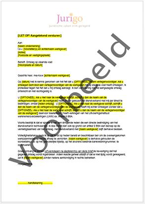 ontslag op staande voet voorbeeldbrief Brief protest ontslag op staande voet ontslag op staande voet voorbeeldbrief
