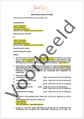 Kamer huren bij hospita contract downloaden contractenkantoor - Voorbeeld kamer ...