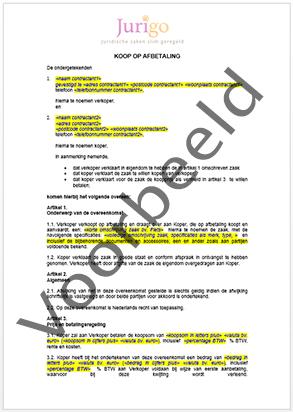 voorbeeldbrief akkoord buren Overeenkomst koop op afbetaling | Contractenkantoor.nl voorbeeldbrief akkoord buren