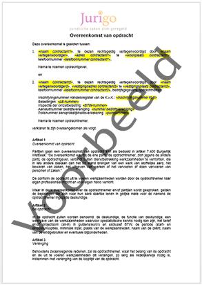 Opdracht overeenkomst / downloaden? | Contractenkantoor.nl